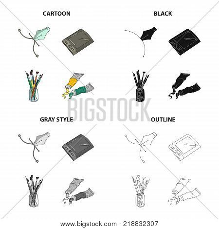 A poster pen, an artist s graphic tablet, paint brushes, artistic paint. Artist and drawing set collection icons in cartoon black monochrome outline style vector symbol stock illustration .