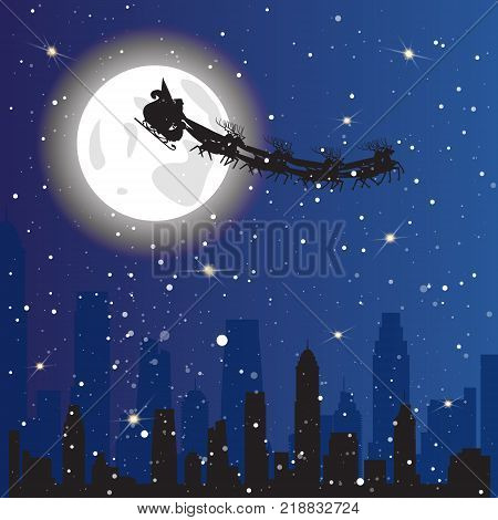 Santa Driving Sledge In Sky Flying Over Night City Background Christmas Holiday Concept Flat Vector Illustration