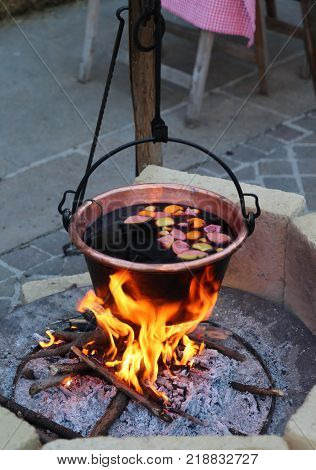 Hot Mulled Wine On The Big Pot