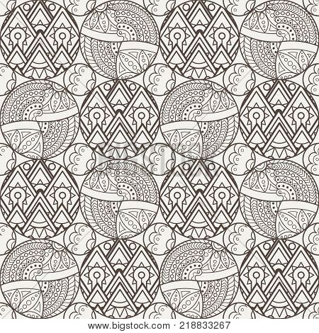 Patch Boho Flower Seamless Pattern. Mandala patchwork, oriental design. Wallpaper, furniture textile, fabric print, tile deco. Vector background
