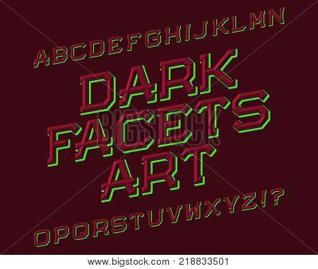 Dark Facets Art typeface. Beautiful font. Isolated english alphabet.