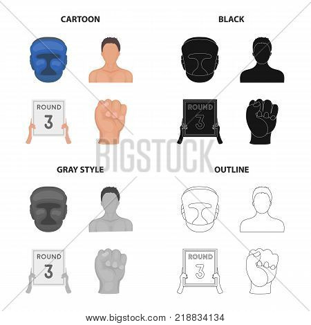 Protective helmet, boxer s appearance, 3-round tablet, fist. Boxing set collection icons in cartoon black monochrome outline style vector symbol stock illustration .