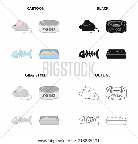 Mouse toy, pet food, fish bone, cat toilet. Cat set collection icons in cartoon black monochrome outline style vector symbol stock illustration .