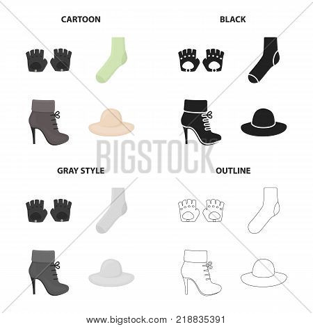 Accessories gloves, sock, women s boot, clothing hat. Clothes and accessories set collection icons in cartoon black monochrome outline style vector symbol stock illustration .