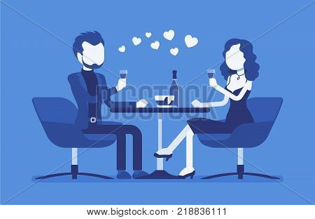 Couple on a romantic date. Young man and woman, pair in love having dinner, meeting of two close loving people in romantic relationships in cafe. Vector illustration with faceless characters
