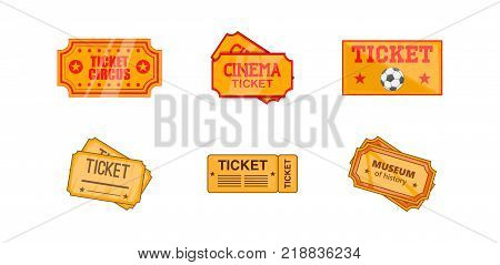 Ticket icon set. Cartoon set of ticket vector icons for web design isolated on white background