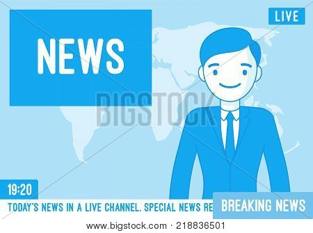 TV news anchorman. Young man, main news reader on a television program, media industry worker reports from a studio on screen current events and information. Vector line art illustration