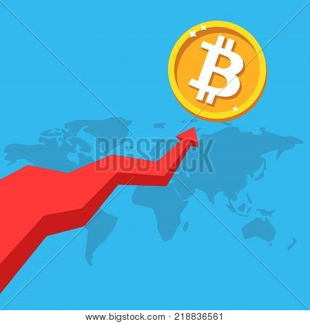 Bitcoin business. Coin vector icon, golden cryptocurrency, red arrow up. Golden coin. Finance, global digital money bit coin concept. Flat design infographic, illustration for web site, mobile app.