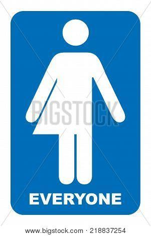 Gender neutral sign. Transgender restroom sign. Vector illustration. Blue symbol isolated on white. Mandatory banner. Toilett for everyone.