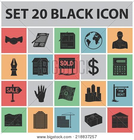 Realtor, agency black icons in set collection for design. Buying and selling real estate vector symbol stock  illustration.
