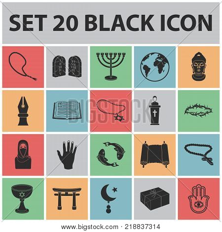 Religion and belief black icons in set collection for design. Accessories, prayer vector symbol stock  illustration.
