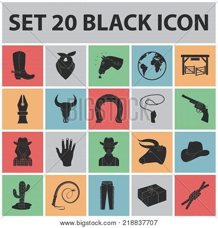 Rodeo, competition black icons in set collection for design. Cowboy and equipment vector symbol stock  illustration.