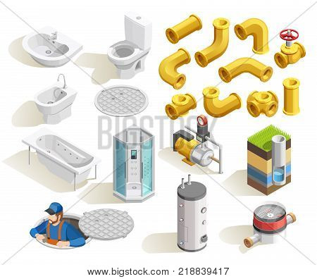 Colorful plumber isometric icons set with toilet bath shower sink heater and pipeline isolated on white background vector illustration
