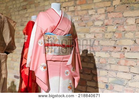 Woman Kimono costumes on mannequins. Traditional Japanese Samurai and Maiko dresses. Geisha clothing