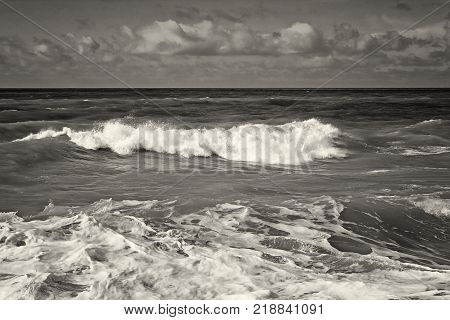 Caspian Sea in a storm. Black and white image.