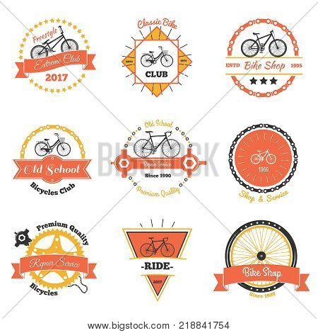 Bicycle vintage emblems color collection of nine isolated decorative oldschool labels with crawler wheel and chain vector illustration