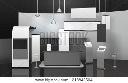 Advertising exhibition stand 3d mockup with counter, displays, horizontal and vertical blank banners, hanging lamps vector illustration