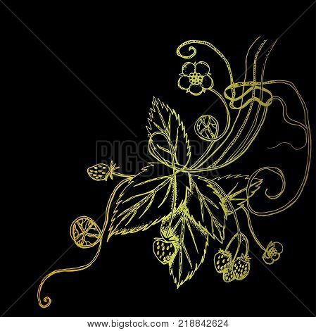Vector image with golden strawberries. Abstract strawberry bouquet.