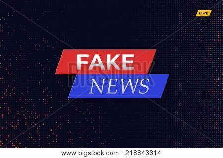 Fake news live splash screen illustration with dotted background