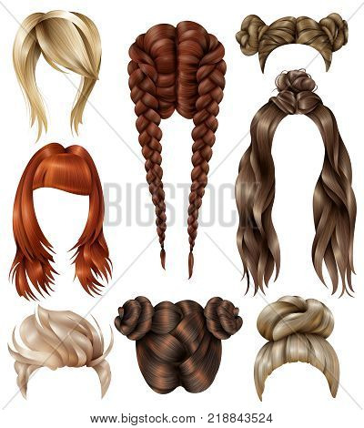Set of realistic female hairstyles with haircuts, youth coiffures, long flowing hair, french braids isolated vector illustration