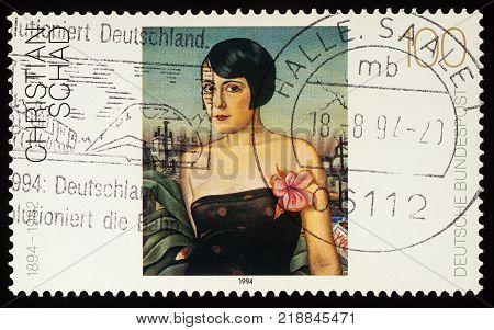 Moscow Russia - December 19 2017: A stamp printed in Germany shows portrait of young woman (Maika) by Christian Schad (1894-1982) series