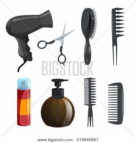 Hair beauty salon equipment set. Hairspray scissors combs for styling massage hairbrush dryer brown bottle with moister. Vector icon illustrations.