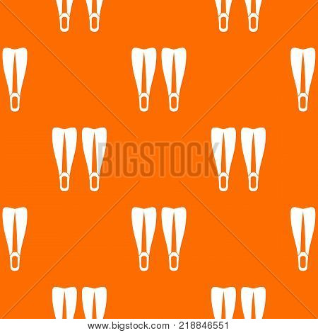 Flippers pattern repeat seamless in orange color for any design. Vector geometric illustration