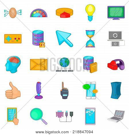 Computer game icons set. Cartoon set of 25 computer game vector icons for web isolated on white background