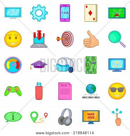 Console icons set. Cartoon set of 25 console vector icons for web isolated on white background