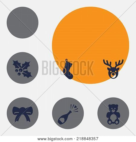 Collection Of Bear, Deer, Fizz And Other Elements.  Set Of 6 Christmas Icons Set.
