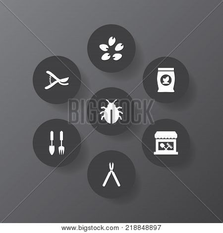 Collection Of Tools, Shears, Phosphorus And Other Elements.  Set Of 7 Household Icons Set.