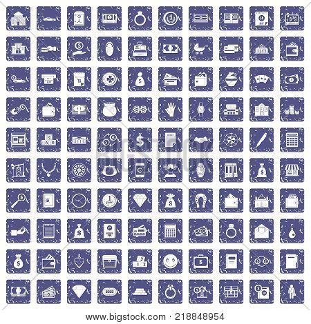 100 deposit icons set in grunge style sapphire color isolated on white background vector illustration