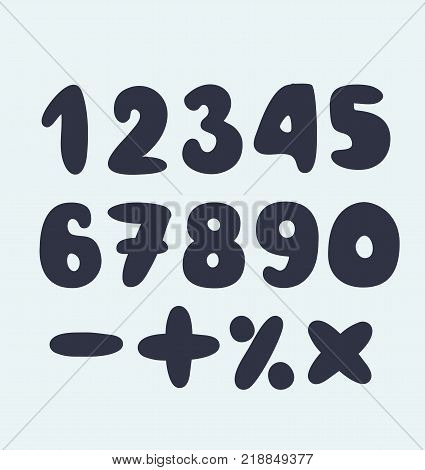 Vector cartoon set of Figures, numbers. Black sights on white bacground
