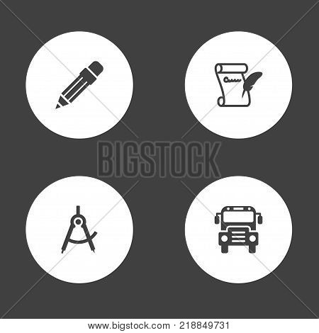 Collection Of Geometry, Agreement, Autobus And Other Elements.  Set Of 4 School Icons Set.