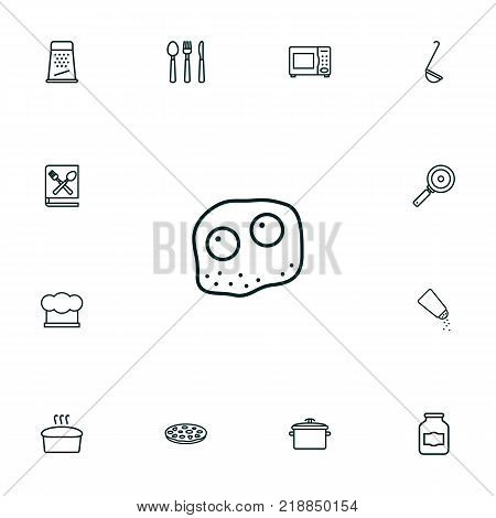Collection Of Microwave, Jug, Skillet And Other Elements.  Set Of 13 Culinary Outline Icons Set.