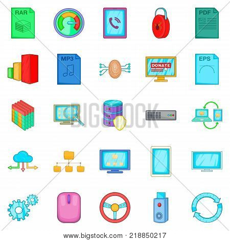 Literacy icons set. Cartoon set of 25 literacy vector icons for web isolated on white background