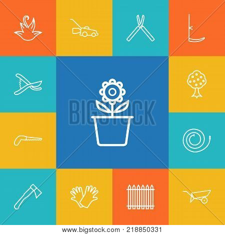 Collection Of Barrow, Shears, Garden And Other Elements.  Set Of 13 Farm Outline Icons Set.