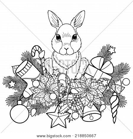 Winter holiday plants with rabbit pattern. Colorful Christmas or New Year composition on blue background for greeting cards, mock ups, coloring pages and covers.