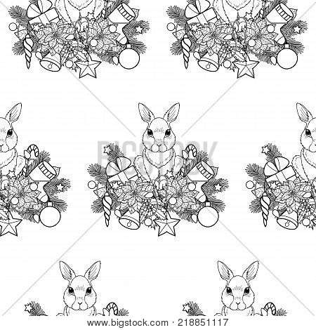 Winter holiday plants and objects with rabbit seamless pattern. Nature colorful Christmas and New Year black and white wallpaper for greeting cards, textile prints, wrapping and coloring pages.