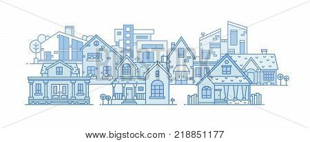 Suburban landscape with various city buildings built in different architectural style. Cityscape with residential houses. Panoramic view of town district. Vector illustration in line art style