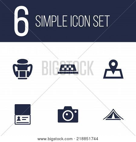 Collection Of Citizenship, Photo Apparatus, Booth And Other Elements.  Set Of 6 Travel Icons Set.