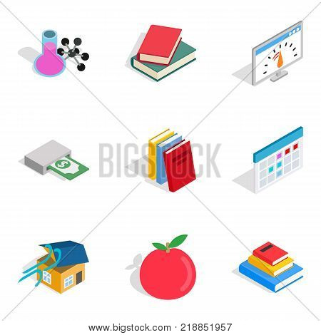 Chemistry icons set. Isometric set of 9 chemistry vector icons for web isolated on white background