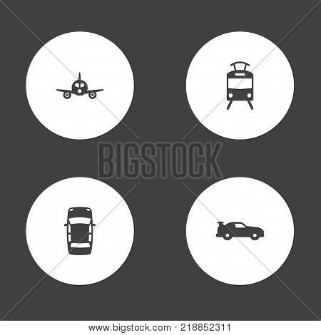 Collection Of Cabriolet, Aircraft, Streetcar And Other Elements.  Set Of 4 Traffic Icons Set.