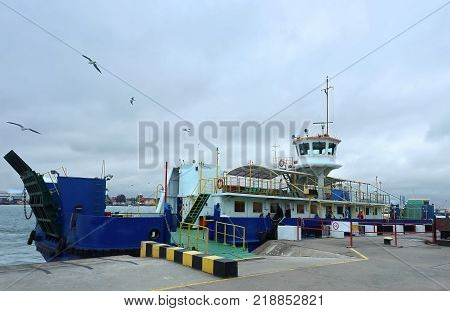 loading onto the ferry to cross the channel blue a passenger ferry at the dock Klaipeda