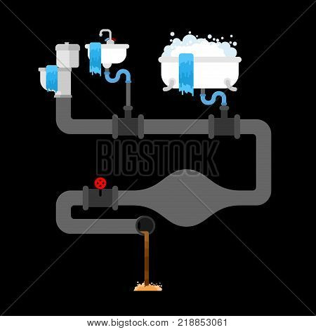 Sewage clogged. Litter in water pipe. old pipes. Water leak. Sewerage is broken. Vector illustration