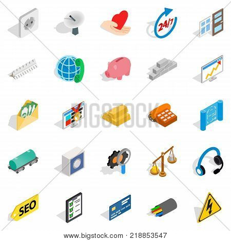 Trust icons set. Isometric set of 25 trust vector icons for web isolated on white background