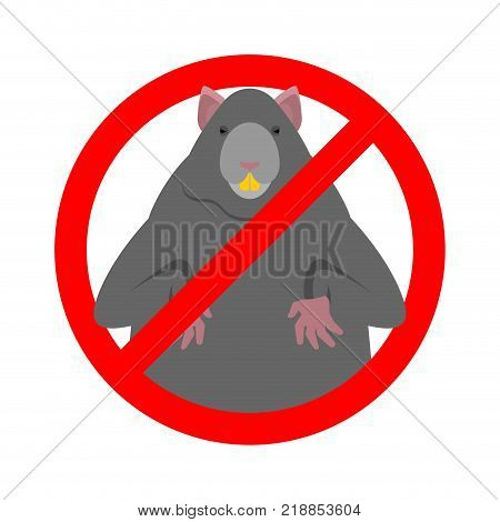 Stop Rat. Ban Big Mouse. Rodent Prohibitive sign vector Illustration