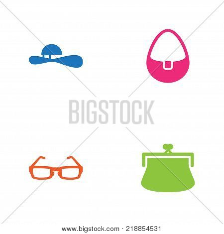 Collection Of Sunglasses, Handbag, Woman Hat Elements.  Set Of 4 Decorating Icons Set.