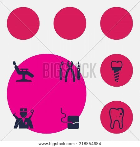 Collection Of Halitosis, Orthodontist, Implantation And Other Elements.  Set Of 6 Dentist Icons Set.