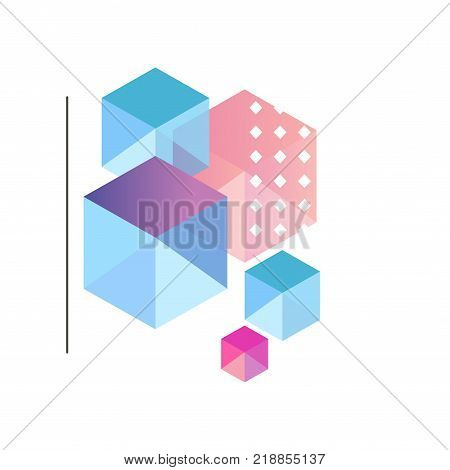 Gradient geometric forms, trendy colorful abstract geometric objects, design for label, presentation, poster, banner or card, modern decoration shapes and figures vector Illustration on a white background